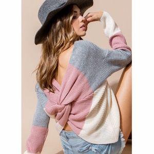 DEVIN Twist Back Sweater